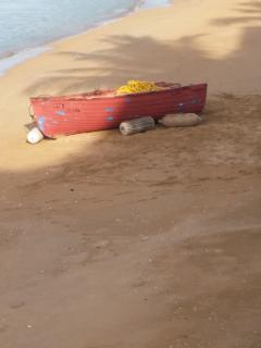 Fishing Boat On Beach In Front Of Condo