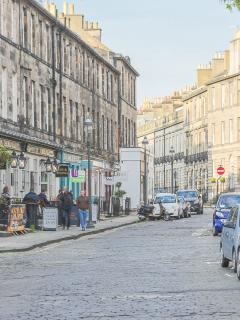 Classic West End cobbles towards Princes Street