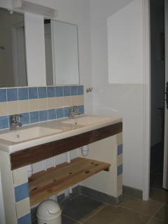 douche avec double lavabos