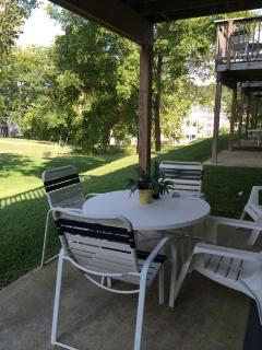 Patio with a great view, Very Peaceful, Have dinner or enjoy an adult beverage , or both.