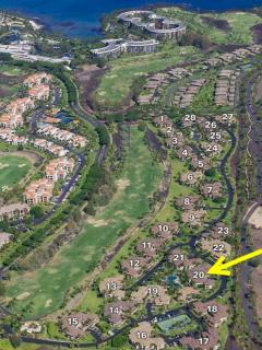 Waikoloa Colony Villas is located on the 10th fairway of the Waikoloa Beach Course, next to the pool