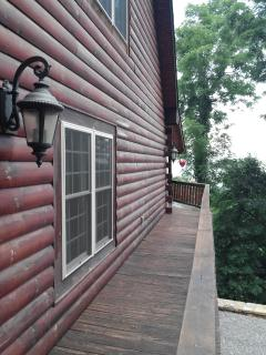 side deck from entry way around to front deck