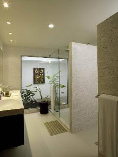 Ensuite guest bedroom bath with outdoor mini garden