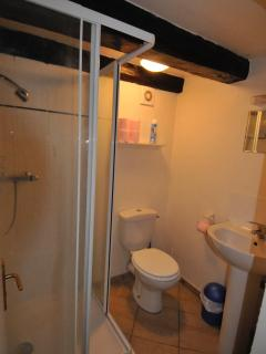 Lucarne Suite Bathroom for 2nd Bedroom, Heated Towel Rack to RIght of Photo