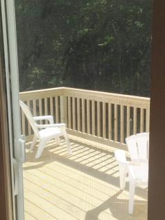 Sunny deck with views to woods of the Green Mountain National Forest