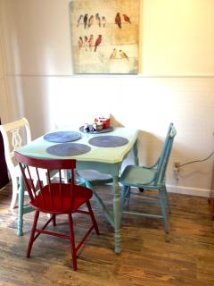 Dine on our farmhouse table on our cool new floor!