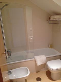 Powerful shower, large mirror, electric air vent