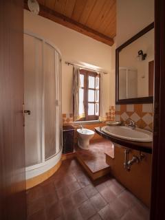 Bagno con wc-bidet-doccia e lavandino, doccia-shampoo, saponette, cuffia, phon