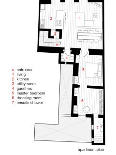 Plan layout of apartment - over 80 square meters internal area.