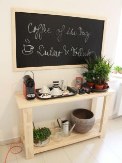 Cofee corner with Nespresso coffee maker in the kitchen