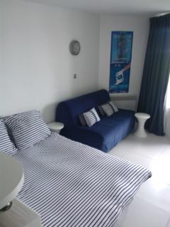 1 canapé - lit ouvert et fait