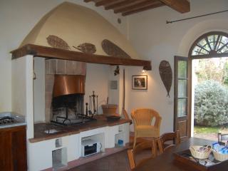 cucina- soggiorno con focolare, appartamento il Biancospino