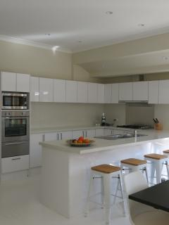Modern kitchen with Ilve gas stove and many appliances including Nespresso