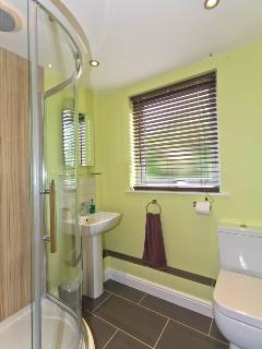 Separate shower room with large shower cubicle and rain storm and separate conventional shower heads