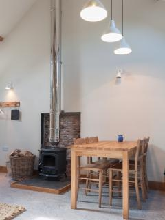 In winter, wood burner and underfloor heating makes for a cosy stay - logs provided at no extra cost