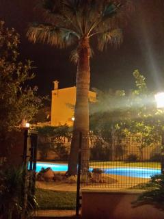 The pool area is beautifully lit up every night during the Summer.