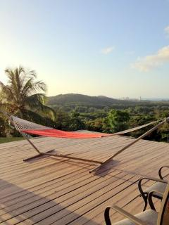 Enjoy your vacation on a large, padded hammock that overlooks sweeping ocean and mountain views.