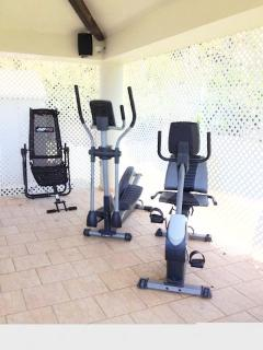 The outdoor gym offers a bicycle, elliptical, ab machine, yoga mats and an exercise ball. Ocean View
