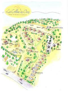 Voici le plan-dessin de 'La Colline des Ocres', cinq hectares ocrés et arborés