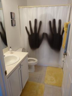 Family Bathroom- Bath &  shower, vanity unit