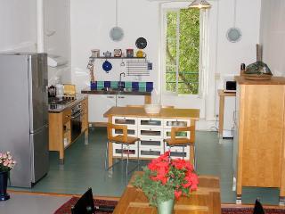 A kitchen area open on the garden