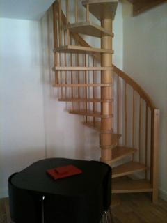 stairs to the master bedroom with ensuite.