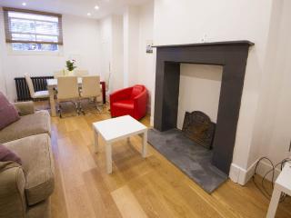 The main living room and original fireplace