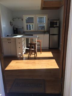 Kitchen/Living/Dining has drop leaf dining table.