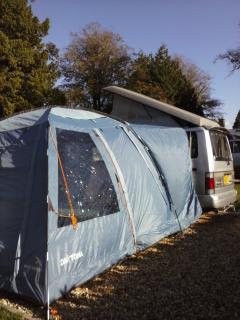 External view of the awning showing the additional floor space - very handy for 3+ people