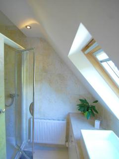 Modern bright shower room with spacious shower cubicle