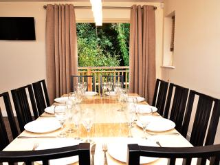 Dining for ten to twelve by the french doors on the first floor