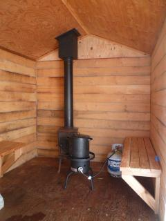 Woodstove to heat up the water for the shower and the sauna