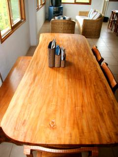 One of the two dining tables in the public living areas