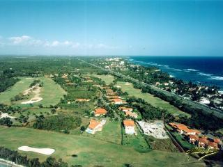 Birds view over golf course and sea view