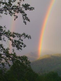 Rainbow off the deck after a spring storm