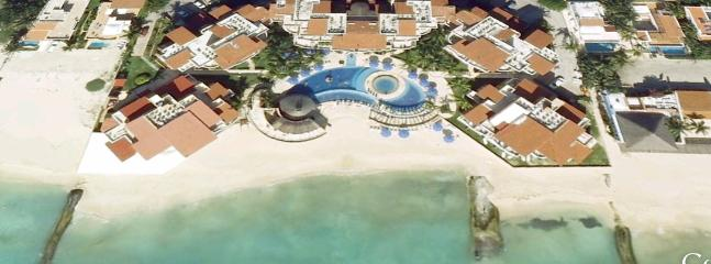 Aerial view of the resort on the beach