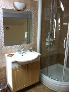 Bathroom #2 Shower, basin, toilet and heated towel rail.