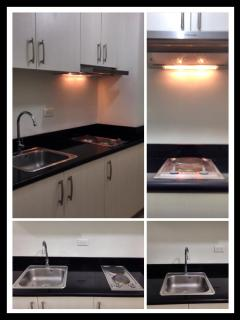 electric stove, kitchen cabinets