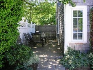 Back Patio with outdoor furniture and gas grill-easy access from Master bedroom - 415 Main Street Chatham Cape Cod New England Vacation Rentals