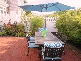Patio with outdoor furniture, umbrella  - 2 Captains Row E Chatham Cape Cod New England Vacation Rentals