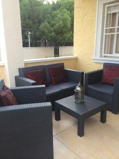 Private covered porch seating area