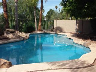 Swimming pool, beautiful back yard looking at golf course