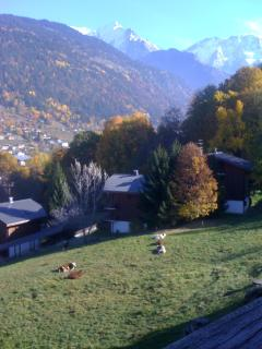 View of Mt Blanc from the balcony, over the piste, in Autumn.