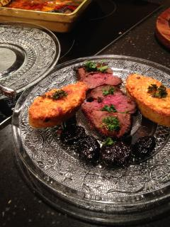 Home-cooked meal: duck with South West prunes and polenta