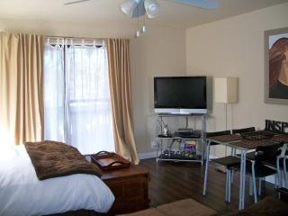 Bedroom with queen bed and queen futon, hardwood floors, balcony, TV, table and 4 chairs.
