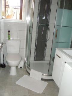 Salle de douche avec les toilettes