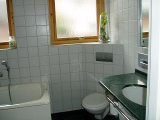 Undervåning; badrum med badkar och separat dusch.