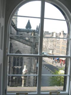 view from west facing lounge window to rear of St Giles Cathedral  and Royal Mile