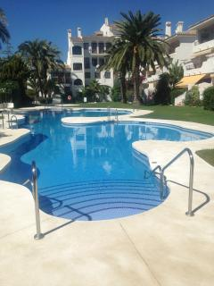 Adults pool, newly refurbished in 2014, disabled access via a chair lift into the pool