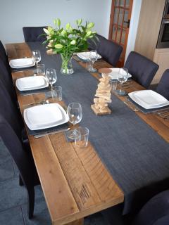 Railway sleeper dining table